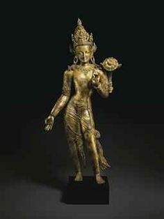 A LARGE AND IMPORTANT GILT BRONZE FIGURE OF AVALOKITESHVARA . Est. 2,000,000 - 3,000,000 USD  THE COLLECTION OF ROBERT HATFIELD ELLSWORTH PART I - MASTERWORKS INCLUDING INDIAN, HIMALAYAN AND SOUTHEAST ASIAN WORKS OF ART, CHINESE AND JAPANESE WORKS OF ART 17 March 2015 New York, Rockefeller Plaza. Price Realized   $8,229,000