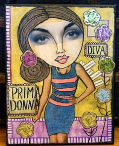 OOAK Mixed Media Girl 11 x 14 stretched canvas by MixedMediaDiva, $125.00
