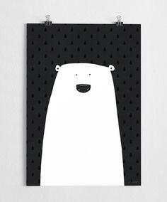 Poster impression, noir et blanc art, moderne, illustration de l'ours polaire, ours art / / polaire par agrapedesign sur Etsy https://www.etsy.com/fr/listing/174585366/poster-impression-noir-et-blanc-art