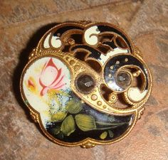 Antique Enamel Button Pierced Gilt with Faceted by ArtiFects, $36.00