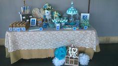 Blue and white wedding desserttable