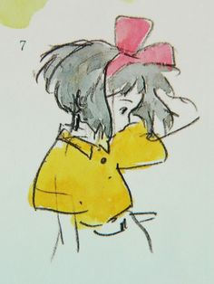 Water color character design by Hayao Miyazaki, featuring Kiki from Kiki's Delivery Service.