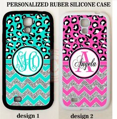 TEAL PINK LEOPARD CHEVRON MONOGRAM PHONE Case For Samsung Galaxy S7 S6 NOTE 7 5…
