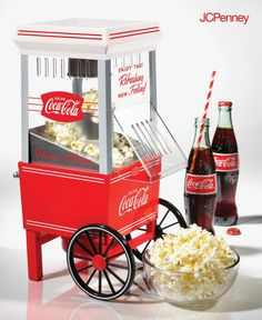 Turn movie night into a fun family event with a vintage-style popcorn maker. Add a whimsical touch to the media room, and enjoy the full movie-going experience in your very own home. Add a charming vintage touch to your party or home entertaining space with this cheerful, Coca-Cola themed, kettle-style popcorn popper.