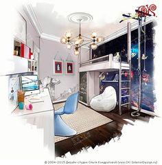 Второй ярус с кроватью и спортивный снаряд в интерьере детской комнаты  http://www.ok-interiordesign.ru/ph_dizain-detskoy-komnaty.php