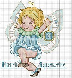 Toddler Birthstone Fairy March Aquamarine Free Cross Stitch Pattern 3/5