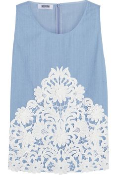 lace appliqued top / moschino