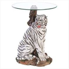 #7: White Tiger Glass Top End Table