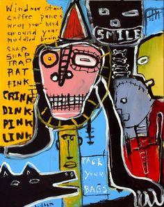 Obra inspirada na arte de Basquiat por Jeff Hugahrt.  Apesar da sua morte, os trabalhos de Jean Basquiat continuam a ser exibidos e é ainda considerado uma força sociopolítica,