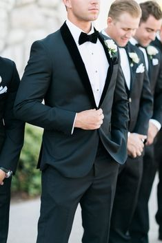 Featured in Inspired by This: Olivia & Brad's Real Wedding - Ashley Creative Weddings & Events - Groom attire - Groomsmen Attire Black, Bridesmaids And Groomsmen, Groom Suits, Groomsmen Tuxedos Black, Groom And Best Man Suits, Black Suit Groom, Grooms Men Attire, Navy Blue Tuxedos, Casual Grooms