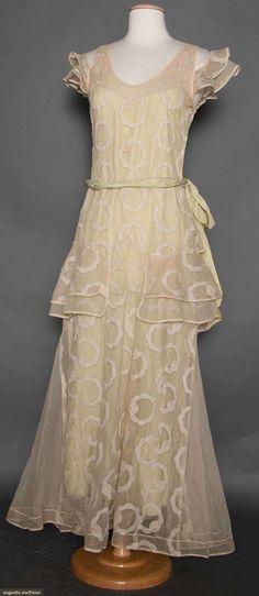 Cream cotton net evening dress, 1930s.