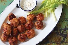 Mini Buffalo Chicken Balls - maybe use crushed pork rinds in place of bread crumbs to make this low carb.