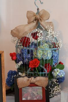 Birdcage flower arrangement