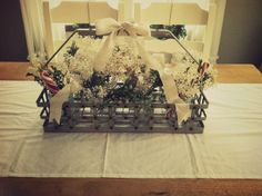 Georgie Emerson Vintage: my merry dining room ~ Love this...Babies Breath, Pine and Peppermint sticks.