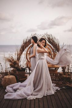 """UNTAMED"" // (Collaboration Inspiration Styled Shoot in Bali) flowy bridal dress Verena Mia Bridal Dresses, Bridesmaid Dresses, Flowy Gown, Wedding Notebook, Cascade Bouquet, Lavender Dresses, Beach Shoot, Chiffon Material, Beautiful Gowns"