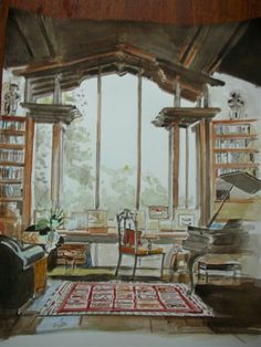 Mita Corsini Bland watercolor of a library designed by Paul Wiseman in Marin County