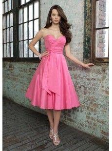 Sleeveless Princess Sweetheart Tea-length Taffeta Bridesmaid Dress with Self-sash $77.96