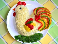 Koch will not regret it! Cute Food, Good Food, Yummy Food, Food Design, Food Art For Kids, Creative Food Art, Boiled Chicken, Food Carving, Vegetable Carving