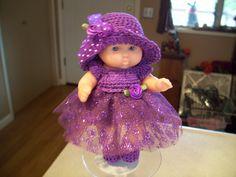 """Berenguer 5"""" Baby Doll - Fancy Purple Dress # 138"""