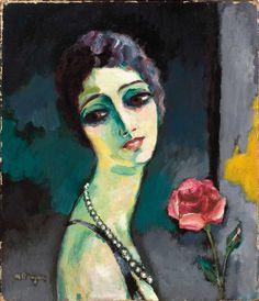 Portrait de Madeleine Grey à la rose. Kees Van Dongen