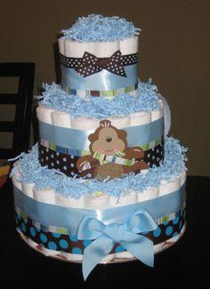 Monkey Baby Shower Cakes For Boys | baby boy monkey diaper cake
