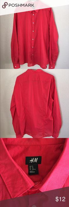 Red Dress Shirt Men's light weight dress shirt, with slight wear on the left collar (see picture). H&M Shirts Dress Shirts