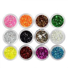 [Visit to Buy] one piece 12 Color Large sequins Glitter UV Nail Gel Acrylic Polish styling nail tools makeup gel nails polish nail art M671 #Advertisement
