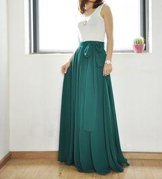 Plus Size Maxi Skirt Chiffon Silk Skirts by Dressbeautiful on Etsy