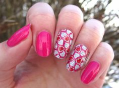 Nails & Threads: Born Pretty Store Review: Glitter Heart Full Nail Stickers for Valentine's Day