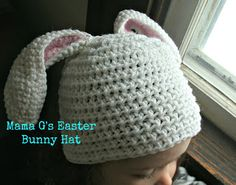 Free Easter Bunny Ears pattern - I know a little girl who would be so stinkin' cute in a bunny hat! Easter Crochet Patterns, Crochet Bunny, Crochet Beanie, Crochet For Kids, Crochet Crafts, Crochet Yarn, Crochet Projects, Crocheted Hats, Free Crochet