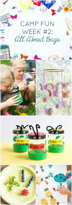 "Zomervakantie - Activiteiten voor kinderen - Beestjes en insecten - Camp Fun ""All About Bugs"" - check out all these creepy crawly bug activities for kids summer camp at home! Preschool Summer Camp, Summer Camp Themes, Summer Camps For Kids, Summer Kids, Summer Daycare, Summer Work, Bug Activities, Camping Activities For Kids, Camping Games"
