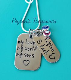 Mothers Necklace with Hand Stamped Tags Mothers necklace comes with 2 tags, 2 Swarovski crystal birthstones and your choice of necklace chain.