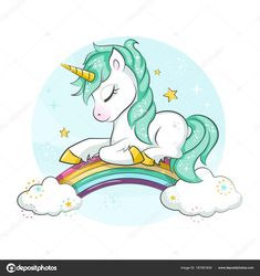 Little pony. Cute magical unicorn and rainbow. Vector design isolated on white background. Print for t-shirt or sticker. Romantic hand drawing illustration for children. Unicorn Drawing, Unicorn Art, Magical Unicorn, Unicorn Images, Unicorn Pictures, Rainbow Drawing, Rainbow Painting, Hanging Tapestry, Hanging Wall Art