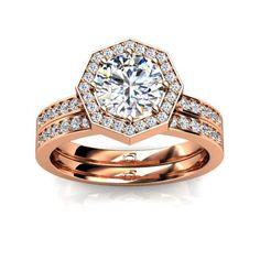 Octagonal Halo Diamond Engagement Ring for Round Center Diamond with Matching Diamond Band