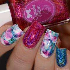 Cupcake Polish Holographic Smooshy Marble Manicure Nail Art Design