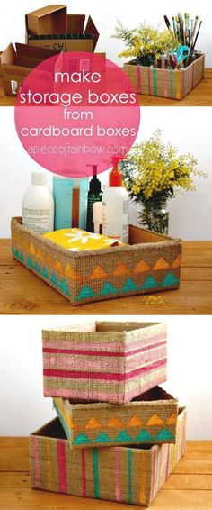 Gorgeous Farmhouse Boho 5 Minute DIY Storage Boxes Make beautiful storage box from up-cycled cardboard box and burlap coffee bean bags! Super easy tutorials on 3 variations. - A Piece Of Rainbow Upcycled Crafts, Diy And Crafts, Home Crafts, Recycled Decor, Cute Storage Boxes, Craft Storage, Storage Ideas, Cheap Storage, Storage Organization
