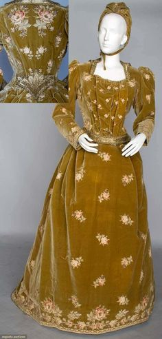 "Lady's evening ensemble, France, ca. 1890; 2-piece, velvet, lavishly tambour embroidered in rose blossom pattern, gold beadwork on cloth of gold collar & bodice appliques, matching bonnet w/ lining stamped in gold ""A. Felix Brevete 15 Faub. St. Honore Paris""."