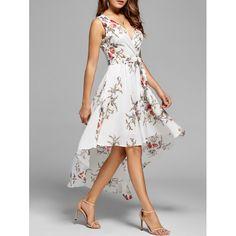 White Cross Pleated Swallowtail High-Low Flowy Deep V-neck Bohemian Party Maxi Dress High Low Dresses Casual, Floral High Low Dress, Casual Dresses For Women, Sweat Shirt, Bohemian Party, Long Jumpsuits, White Maxi Dresses, Asymmetrical Dress, Flare Dress