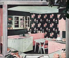 1949 Green & Pink Kitchen Dining Corner by American Vintage Home, via Flickr