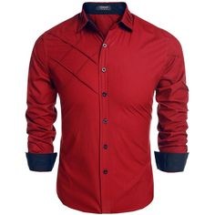 Coofandy Men's Fashion Slim Fit Dress Shirt Long Sleeve Casual Shirts ($17) ❤ liked on Polyvore featuring men's fashion, men's clothing, men's shirts and men's dress shirts