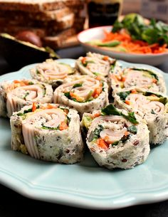 "Turkey Avocado Goat Cheese ""Sushi"" Rolls   honey & figs"