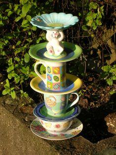 Easter Bunny yard art birdbath bird feeder candy by RecaCreations, $40.00