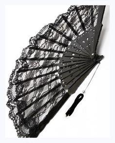 Black Lace Fan - Burlesque,Wild West Saloon
