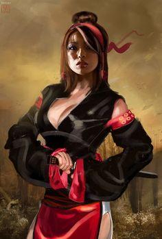 Red Girl Sanada by David Benzal. ArtStation Character design for Sanada generation samurai