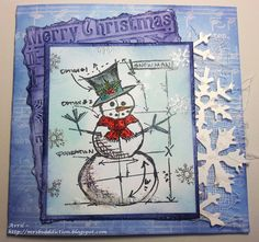 Only kidding, but I thought I'd share another Christmas card using the Tim Holtz Snowman Blueprint sketch, with a few extra silver em...