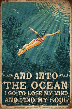 Ocean Quotes, Beach Quotes, Such Und Find, Mermaid Art, Inspire Me, Vintage Posters, Favorite Quotes, Illustration, Life Quotes