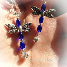 Dragonfly antique cobalt blue dangle earrings by JotunBlues