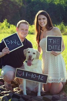 "Save the date photo idea- groom holding up a chalk board with ""save"" written on it -bride holding up a chalkboard with ""the date"" on it - their dog has a chalkboard around his neck that has the date written on it - Great way to include an important part of family! Rustic, outdoorsy - https://www.facebook.com/different.solutions.page"