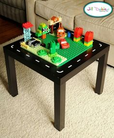 Make lego table out of little tables from ikea