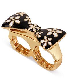 Betsey Johnson Ring, Gold-Tone Flower Bow Two-Finger Stretch Ring - Fashion Rings - Jewelry & Watches - Macy's